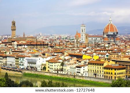 Panorama in Florence, Duomo and palazzo Vecchio, Toscana, Italy - stock photo