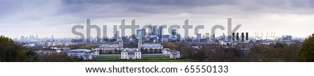 Panorama includes Greenwich Park, Canary Wharf, O2 Milennium Dome, Royal Naval College, - stock photo