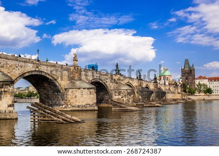 Panorama. Karlov or Charles bridge in Prague in summer - stock photo