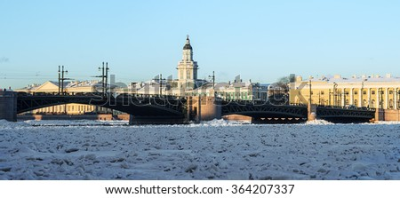 panorama kunstkamery and palace bridge early winter morning in St. Petersburg. Russia - stock photo