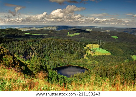 Panorama landscape view over black forest Germany - stock photo