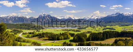 panorama landscape with alps mountains in Bavaria, Germany - stock photo