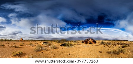 panorama landscape with old wreck - stock photo