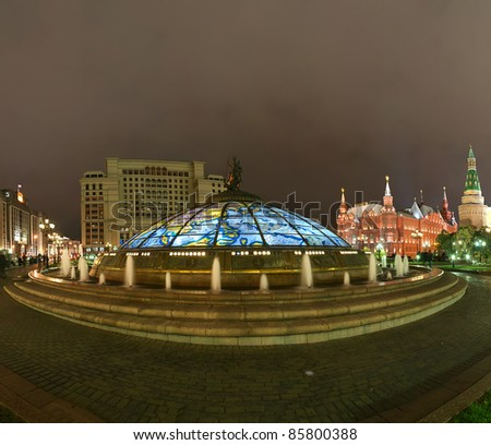 Panorama Manege Square at night, Moscow, Russia - stock photo