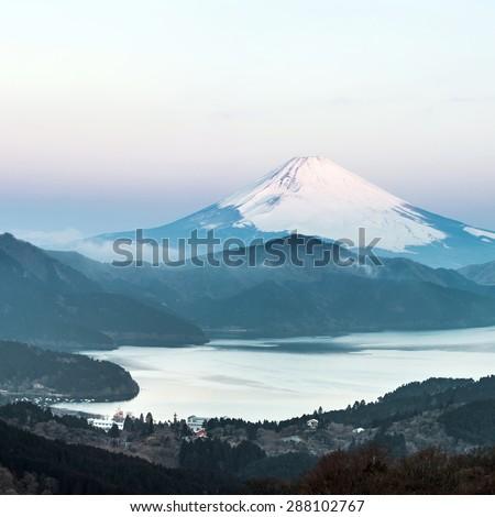 Panorama Mountain Fuji in winter sunrise at Hakone Lake - stock photo
