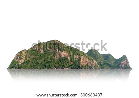 Panorama mountain isolated on a white background, with clipping path. - stock photo