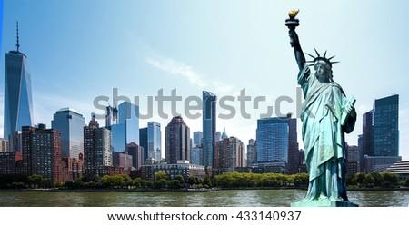 Panorama New York City - Manhattan - Statue of Liberty - stock photo