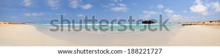Panorama of a beach with a ship Wreck in Cabo de Santa Maria, Boa Vista Island in Cape Verde - stock photo