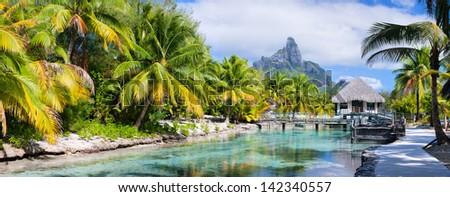 Panorama of a beautiful coast with Otemanu mountain view on Bora Bora island - stock photo