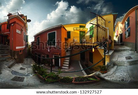 Panorama of a cozy street of Italian town Vernazza, Cinque Terre National Park, - stock photo