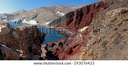 Panorama of a fantastic spectacular cost. Red beach, Santorini, Greece - stock photo