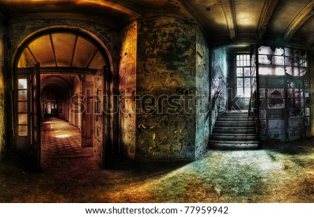 panorama of a hallway in an abandoned complex, hdr processing - stock photo
