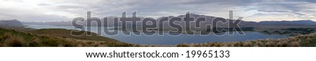 Panorama of a lake in New Zealand - stock photo