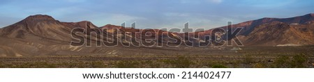 Panorama of a mountain range in the southern California desert - stock photo