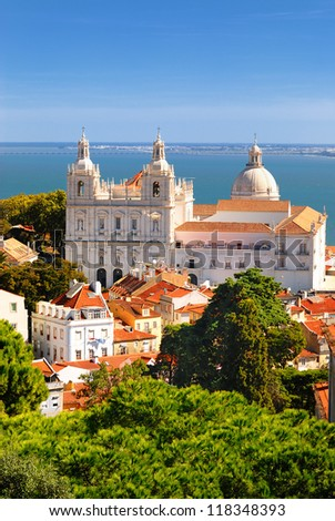 Panorama of a old traditional neighborhood in Lisbon - stock photo