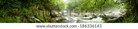 Panorama of a river flowing through a forest.  Great Smoky Mountains National Park, TN, USA. - stock photo