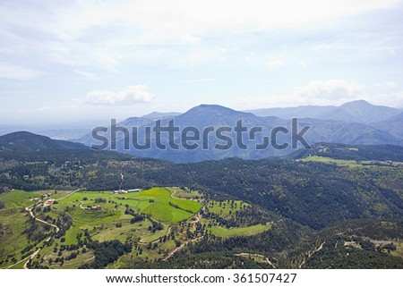 Panorama of a valley with limestone mountains (Spain) - stock photo