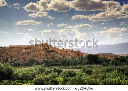 Panorama of a village in the Atlas mountains, Morocco. - stock photo