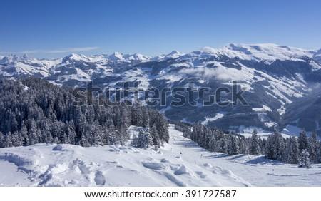 Panorama of a winter landscape at a ski area, Kitzski, Kitzbuhel - Kirchberg, Austria - stock photo