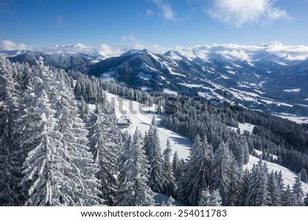 Panorama of a winter landscape at a ski area, Westendorf - Brixen, Austria - stock photo