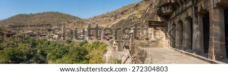 Panorama of Ajanta caves in India. - stock photo