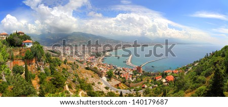 panorama of Alanya Turkey - view from fortress - stock photo
