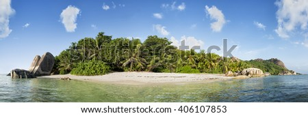 panorama of anse source d'argent beach on la digue island in seychelles - stock photo