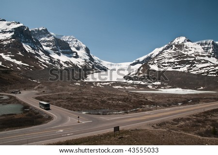 Panorama of Athabasca Glacier - stock photo