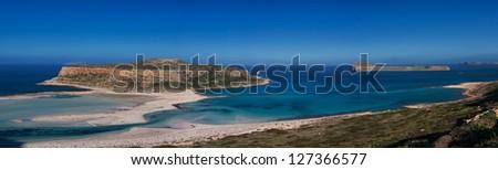 Panorama of Balos Beach and island in summer, Crete, Greece. - stock photo