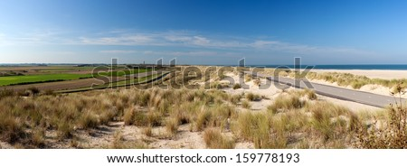 Panorama of beach near Ouddorp in South Holland, the Netherlands. - stock photo