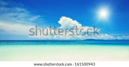 Panorama of beautiful lonely beach  - stock photo