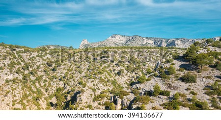 Panorama Of Beautiful Nature Of Calanques On Azure Coast Of France. High Cliffs Under Blue Sunny Sky. - stock photo