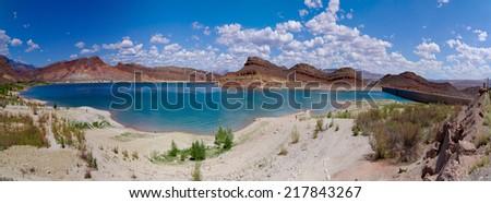 Panorama of beautifulscenerey in Quail creek state park zion national park - stock photo