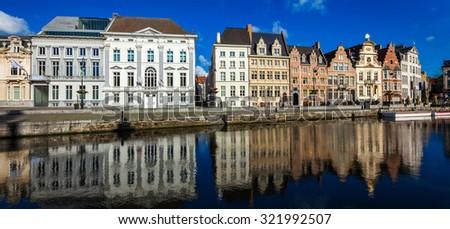 Panorama of Belgium medieval european town with canal. Koperlei street, Ghent, Belgium - stock photo