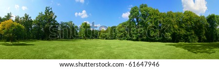 Panorama of big city park - stock photo
