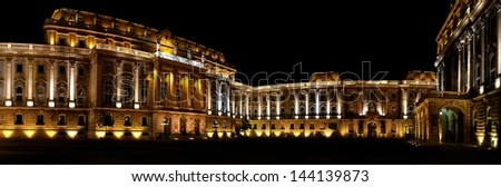 Panorama of Budapest Castle Courtyard in the night - stock photo