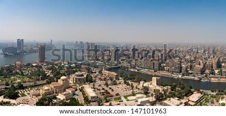 Panorama of Cairo fom Cairo Tower, Egypt - stock photo