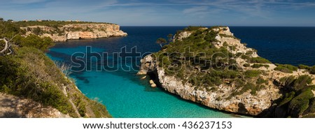 Panorama of Cala des Moro, Mallorca, Baleares, Spain - stock photo