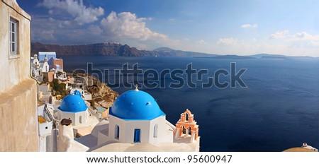 Panorama of caldera on island of Santorini (Thyra), Greece - stock photo