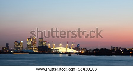 Panorama of Canary Wharf - stock photo