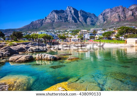 Panorama of Cape Town, South Africa. The city beach against magnificent mountains - stock photo
