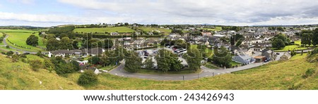 Panorama of Cashel in Ireland. View from the Rock. - stock photo
