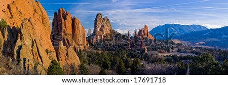 Panorama of Central Garden of the Gods near Colorado Springs, Colorado with Cheyenne Mountain (NORAD) in the distance - stock photo