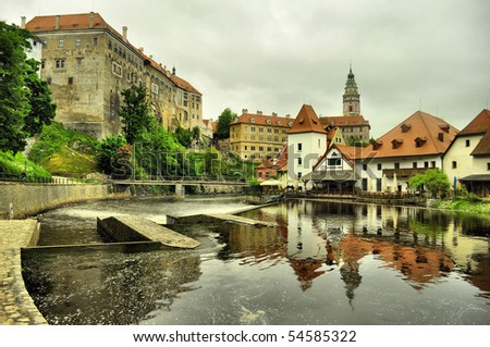 panorama of Cesky Krumlov (unesco) - stock photo