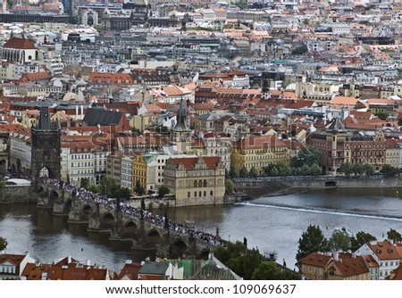 Panorama of Charles bridge in Prague, Czech Republic - stock photo