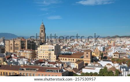 Panorama of city Malaga, Spain  - stock photo