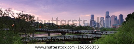 Panorama of City of Houston Downtown - stock photo