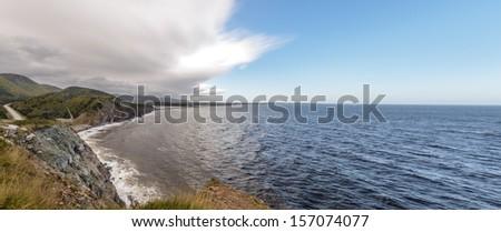 Panorama of  Coastal Scene on the Cabot Trail (Cape Breton, Nova Scotia, Canada) - stock photo