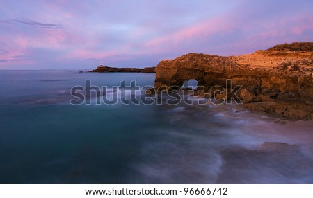 Panorama of coastline in Robe, South Australia, dusk - stock photo