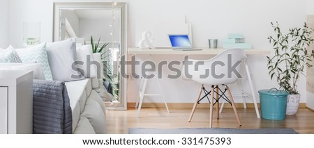 Panorama of contemporary room with big decorative mirror - stock photo
